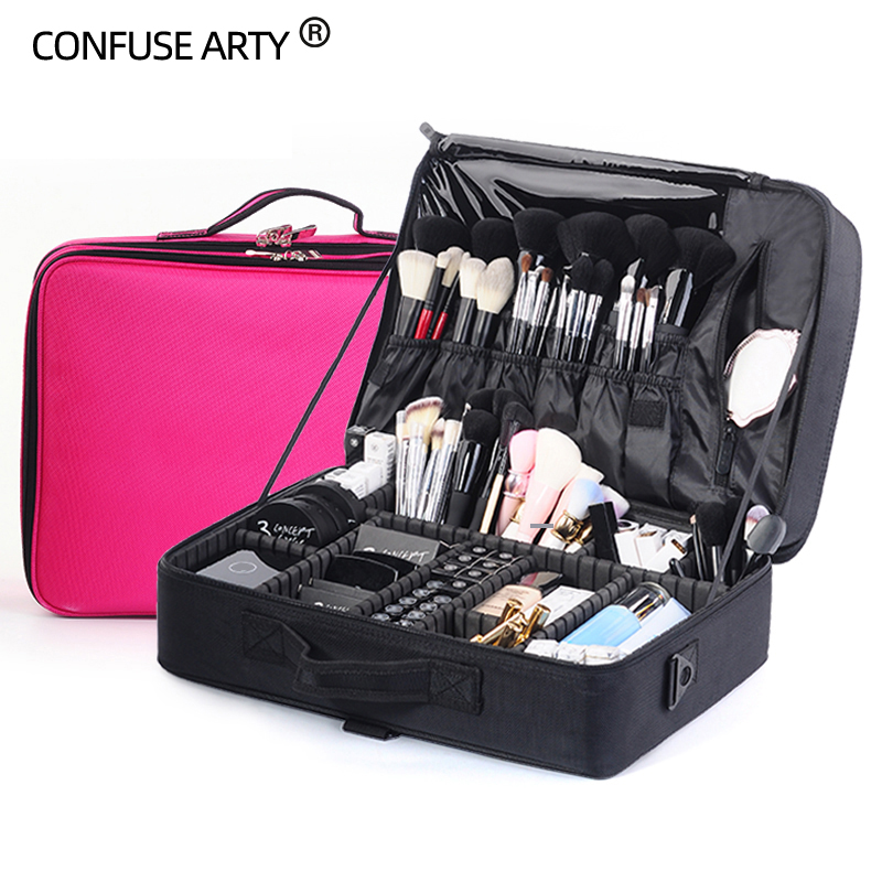 Super Large 45x33x16CM Professional Makeup Bag Wedding Cosmetic Case Large Capacity Travel Suitcase For Make up