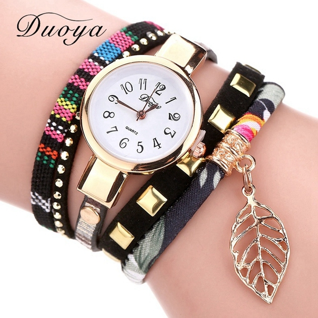 Duoya 2017 Fashion Ladies Watches Women Luxury Leaf Fabric Gold Wrist For Women Bracelet Vintage Sport Clock Watch Christmas Gif
