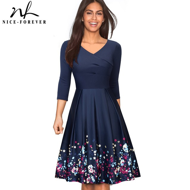 Vintage Elegant Floral Flare Swing Dress