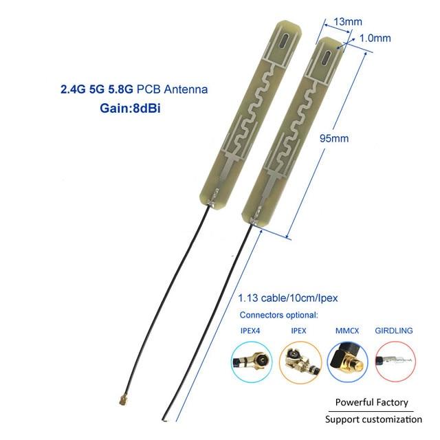 גבוהה רווח 8dbi אנטנת PCB דבק Dual band 2.4G 5G 5.8G Ipex אנטנת wifi 10 PCS/ אצווה