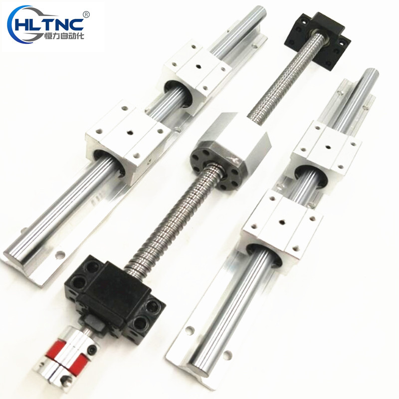 3  SBR16 linear guideway Rail +3 ball screws RM1605+3BK/BF12 + nut housing + couplers for CNC router/Milling Machine ball linear rail guide roller shaft guideway toothed belt driven