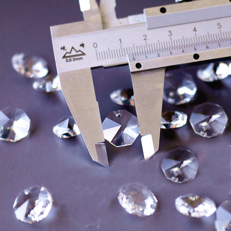Free Shipping 2000PCS lot 14mm Clear crystal glass octagon beads in 1 hole for chandelier parts
