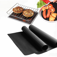 BBQ Grill Mat Roast Meat Mat Thick Pad Baking Liners Fiberglass Teflon Nontoxic Reusable Non stick Cooking Tools 0.2mm  5pcs/set|Dinnerware Sets|   -