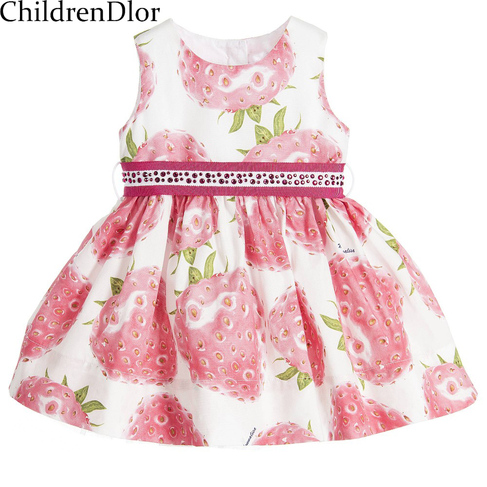 Подробнее о Girls Pink Strawberry Dress Princess Costume 2017 Brand Clothes Kids Dresses with Beading Sashes Robe Fille Children Dress Girl brand girls dress summer 2017 brand kids dresses princess costume robe noel fille floral children dress for girl clothes