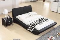 Роскошная мебель для спальни, комплекты, Топ зерна кожаный подголовник современная мягкая кровать, Frech Стиль кровать B15