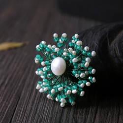 Amxiu индивидуальные ручной работы натуральный жемчуг натуральный агат Броши двойного назначения зеленый цветок Цепочки и ожерелья