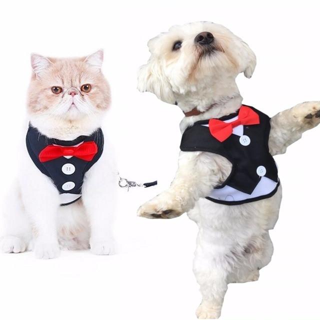 Dog Tuxedo Collar Pet Dog Harness Leash With Cute Bow Small Dog