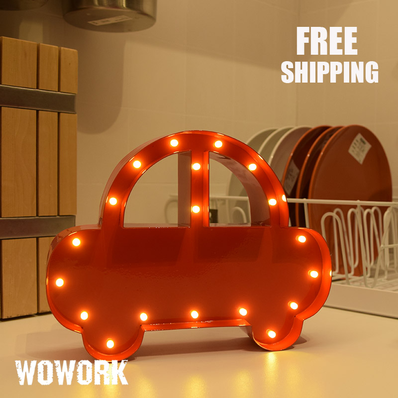 LED Christmas gift car table lamp Marquee Sign metal 3D battery operated light indoor room decoration for bad room