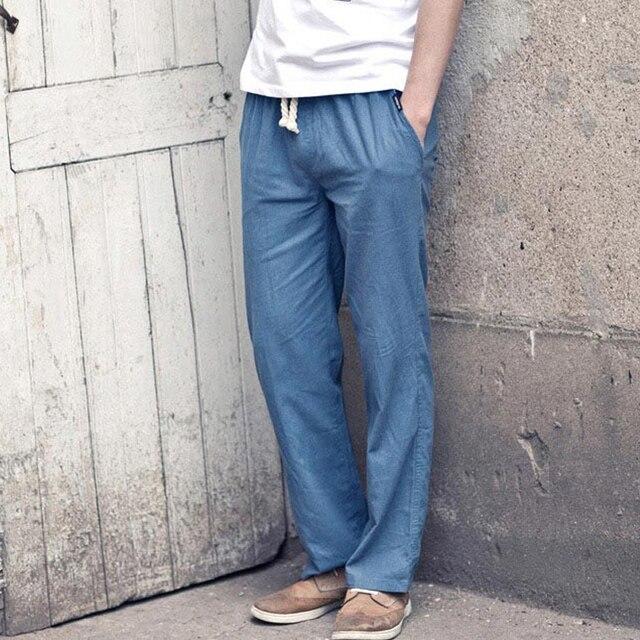 LLYGE Katoen Linnen Heren Lange Broek Plus Size 5XL Leisure Blauw Wijde Pijpen Broek Man Losse Zomer Streetwear Mannelijke kleding