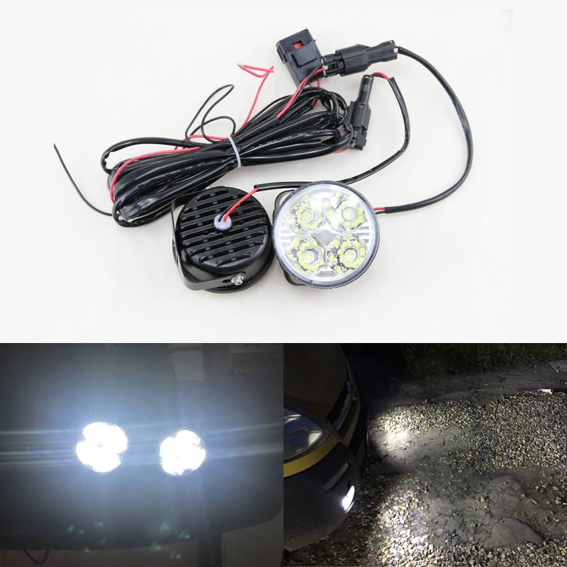 2x Auto Car 4 LED Round DRL Daytime Running Day Driving Bulb Fog Light Lamp 12V 4W Free Shipping xinew male clock luxury brand stainless steel quartz military sport leather band dial men wrist watch erkek kol saati hot sale