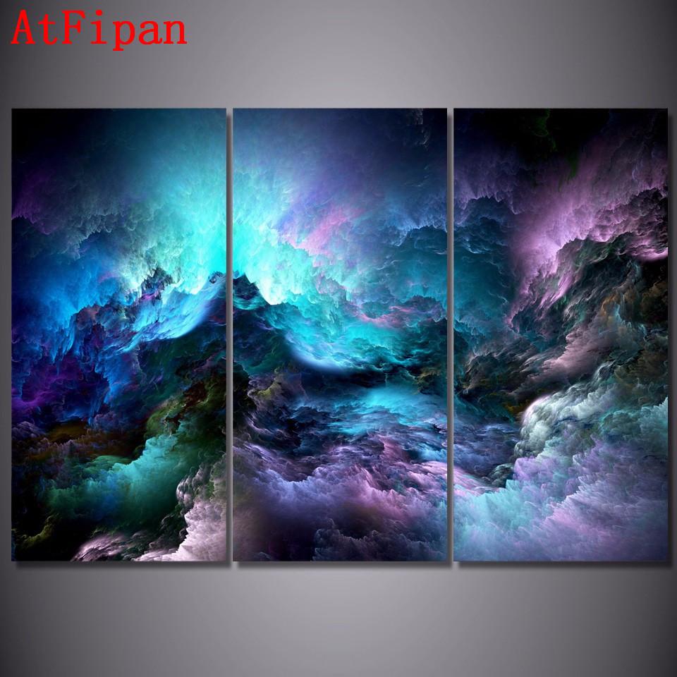 Atfipan wandkunst leinwand malerei 3 p abstrakte grafik psychedelic nebula raum wandbilder für wohnzimmer hd modularen