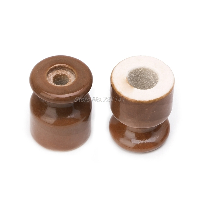 5PCS High Frequency Electric Porcelain Gourd 24mm Porcelain Ceramic Insulator Black/Coffee/Yellow/White Dropship