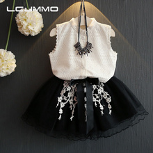LCJMMO 2017 Summer Girls Clothing Suit Girls Clothes Lace T-shirt +Tutu Skirt 2Pcs Outfits Kids Clothes Set Children Clothing