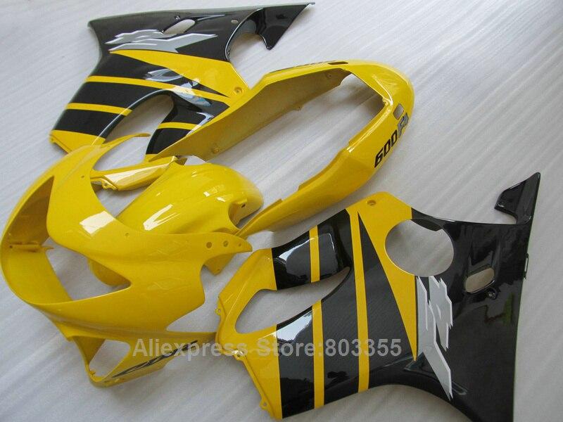 100% adapté pour Honda CBR 600 F4 99 00 (lignes noires jaunes) cbr 600 moulage par Injection 1999 2000 kit de carénage xl64