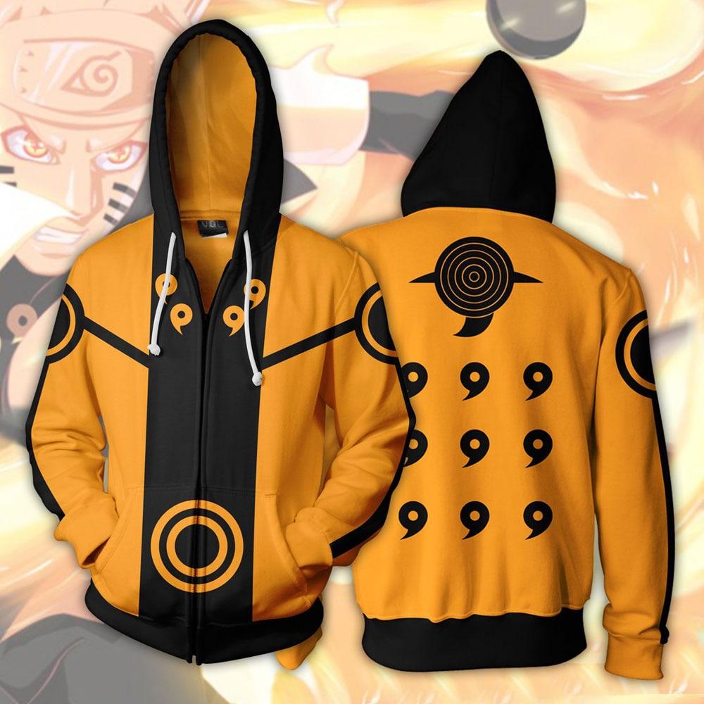 Japan Anime Naruto Costumes Akatsuki Sweatshirts Cosplay Anime game 3D printing jacket long-sleeved zipper sweater
