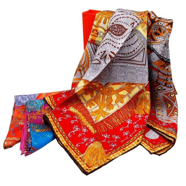 2017 Nueva Bufanda de Seda 100% Mujer Invierno Cálido Infinito Bandana Señoras Grandes Chales Bufandas Cuadrados de Protección Solar de Verano Elegante Estilo