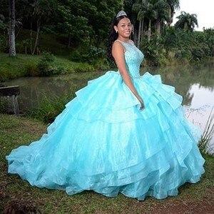 Image 2 - טורקיז אורגנזה חצאית Quinceanera שמלות סקופ טנק מבריק חרוזים פאייטים מתוק 15 שמלות כדור שמלת sukienki balowe SQ04