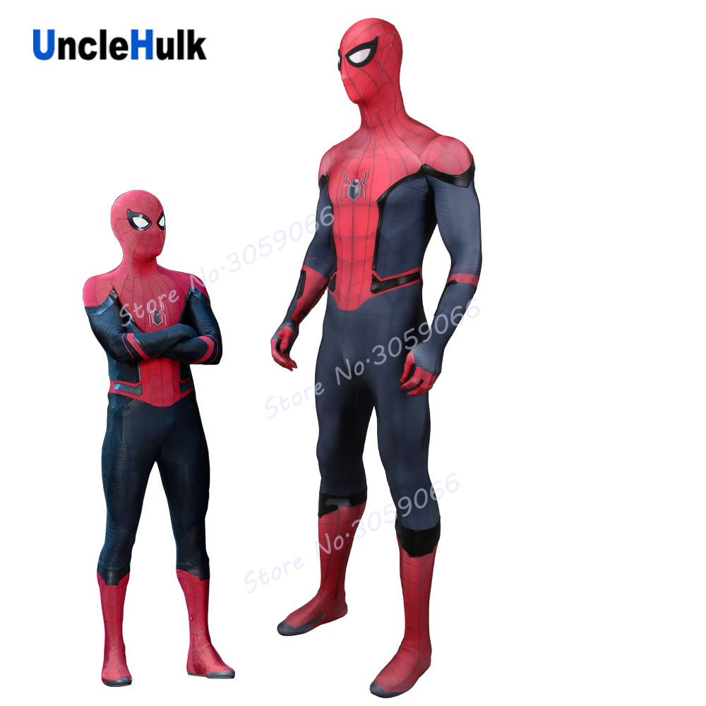 SpiderMan Far From Home 2019 Movie Cosplay Custom Zentai Costume add black high elasticity faux leather