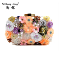 Lady's Luxury Evening Bags 2017 Hot Sale Women Party Handbags Day Clutches Floral  Bling Sequins Beaded Phone Pocket Socialite