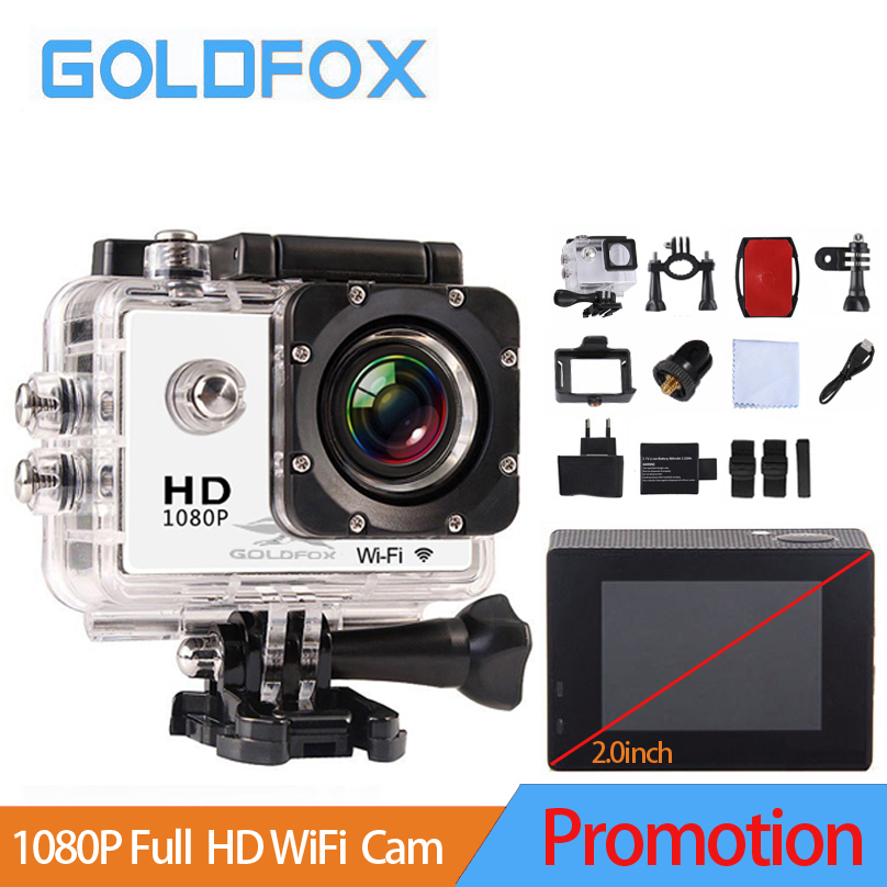 2017 Promotion 2.0 inch 1080P Full HD WiFi Action Camera 30M Go Waterproof Pro Bike Helmet Cam Mini video camera