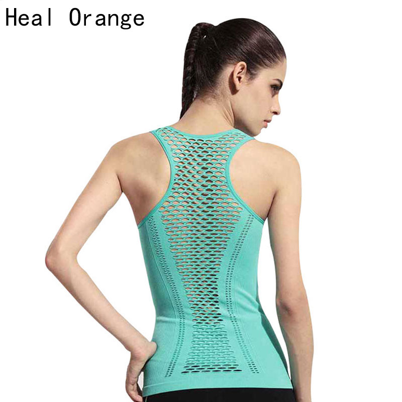 HEAL ORANGE Dames Yoga Shirts Tops Dames Fitness Sport Dames Gymkleding Sportshirt voor gym Running Mujer Running shirt Dames