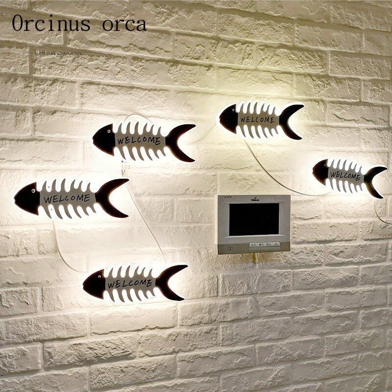 Méditerranéenne créative ancre de bateau mur lampe enfant chambre garçons et filles chambre thermomètre décoratif personnalité LED mur lampe
