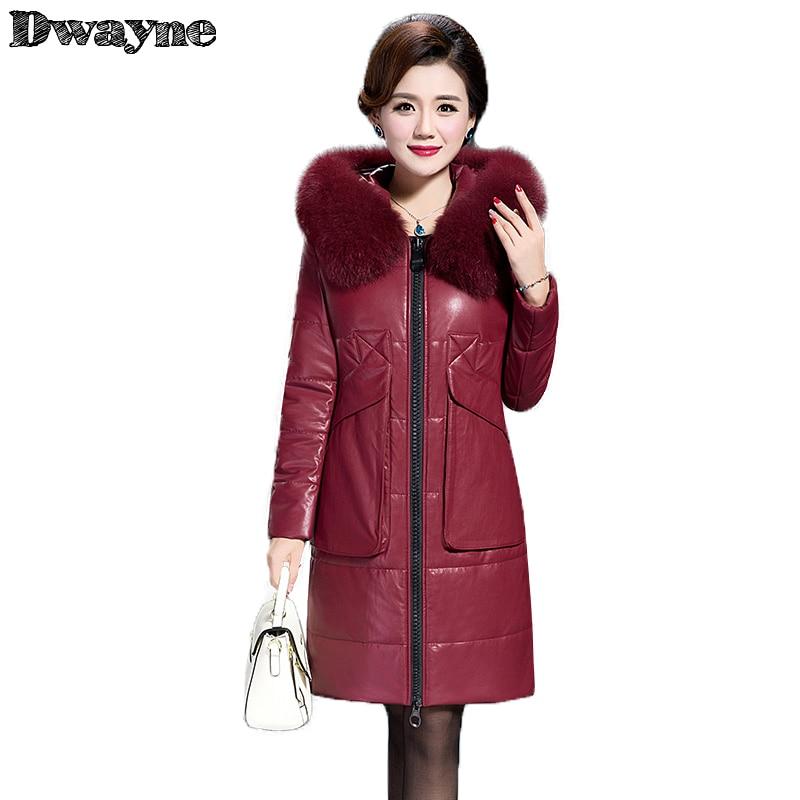 2017 Fashion Winter Jacket Women Long Leather Jacket Female Fashion Faux Fox Fur Collar Warm Jaqueta Couro L-6XL Plus Size 9966 мужской ремень cinto couro marca