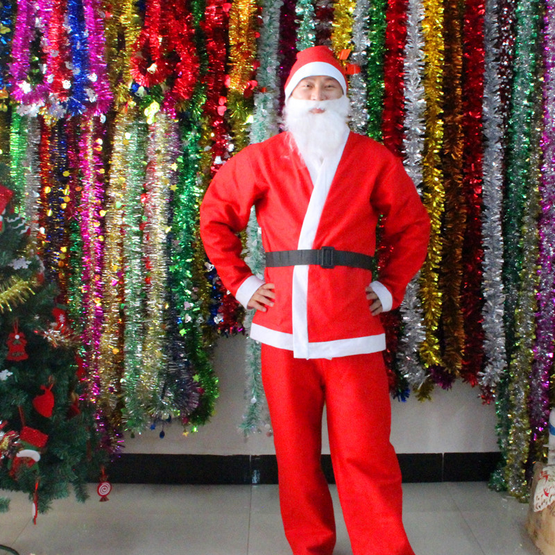 Hot Selling 100% brand new and high quality 5pcs/set Christmas Santa Claus Costume Adult Set  Red Cosplay Clothing