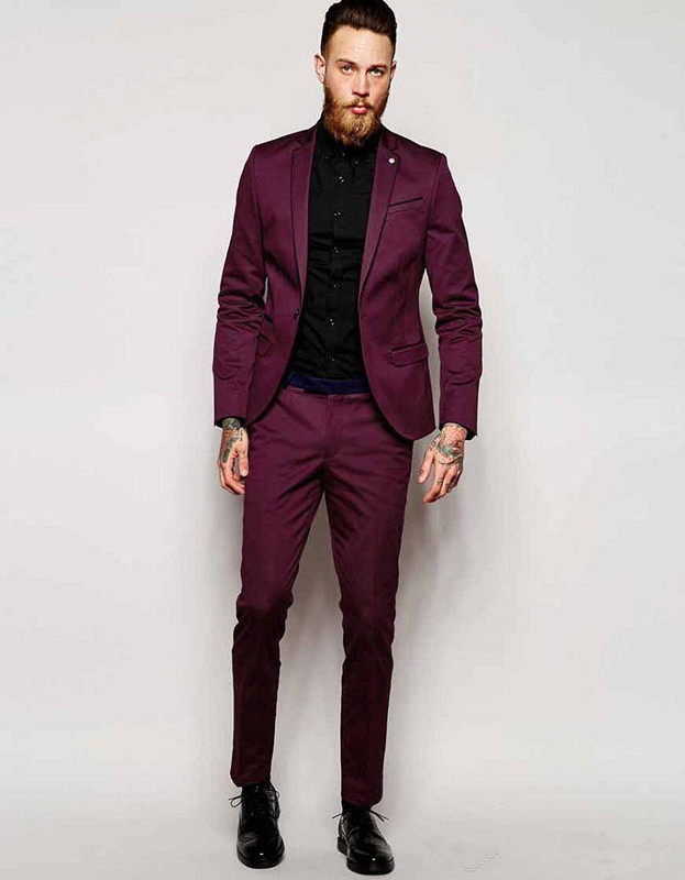Custom Made One Button Burgundy Groom Tuxedos Notch Lapel ...