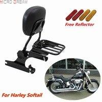 Black Adjustable Passenger Detachable Backrest Sissy Bar Luggage Rack For Softail Breakout Deluxe Custom FLSTN FXSB 2000 Later