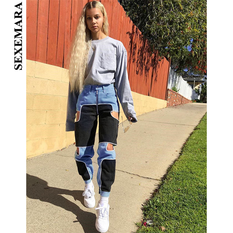 BOOFEENAA Hollow Out Color Block Streetwear Cargo Pants Joggers Women Zipper High Waist Casual Trousers Sweatpants C67 AH74