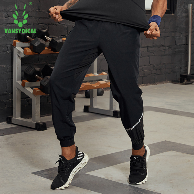 Vansydical Mens Reflective Workout Pants Running Leggings Loose Breathable Basketball Training Pants Fitness Jogger Sweatpants