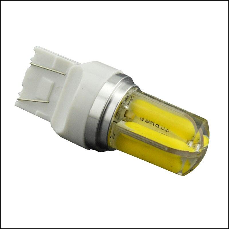 Ruiandsion 2pcs LED Car T20 led Bulb 7443 Tail Signal Brake Stop Reverse DRL Light COB 6W Silicone led White