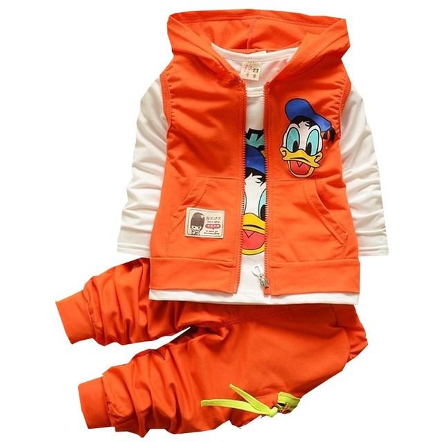 2016 Nova Outono crianças meninos meninas jaqueta casaco T shirt calças conjuntos de roupas de bebê crianças dos desenhos animados do Pato Donald roupas definidos