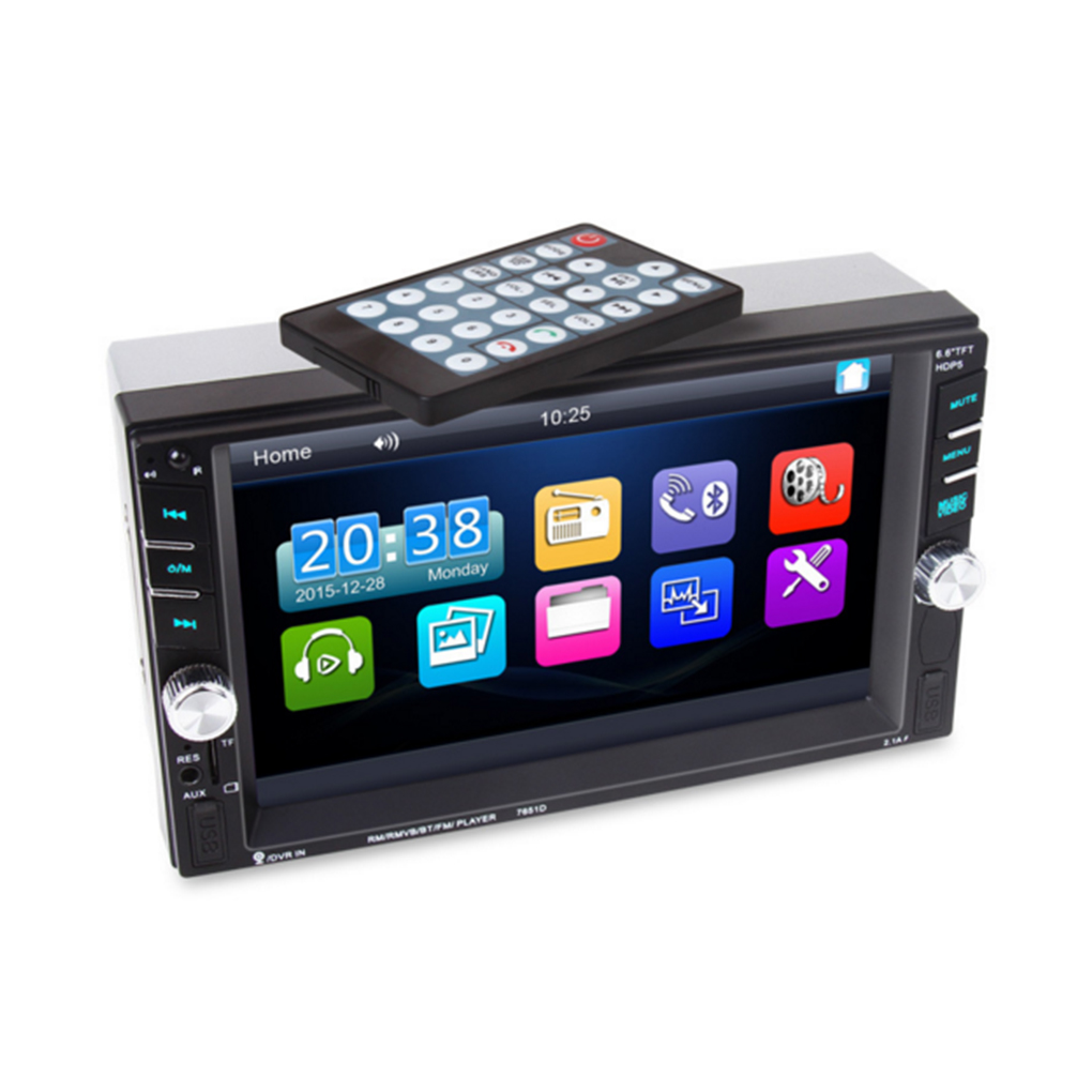 7651D Car MP5 Player 6.6 Touch Screen Support Bluetooth USB FM Car Radio SD Card Car Audio/Vedio Player