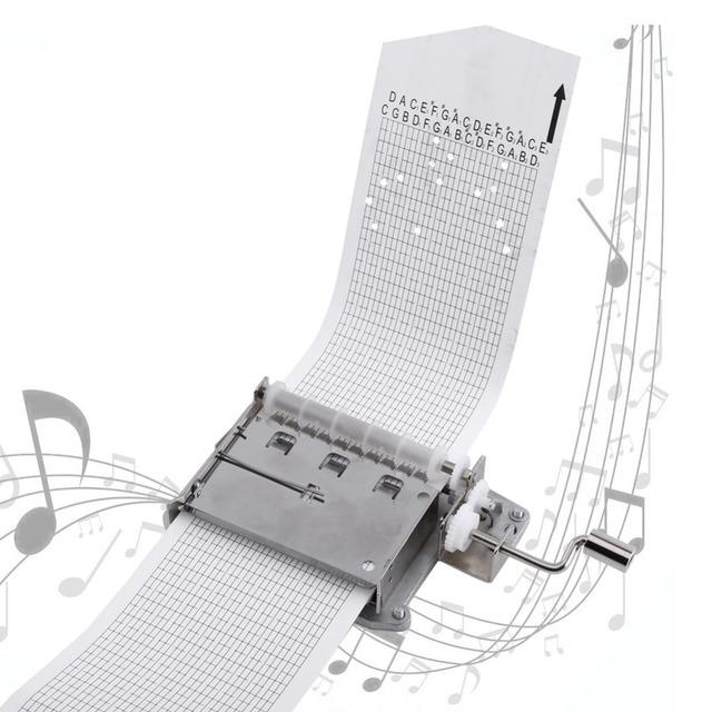 30 הערה מכאני מוסיקלי תיבת קלטת יד Crank מוסיקה תנועת תיבת חלק + אגרופן עם 3 רצועות DIY שירים מושלם מתנת סט חם