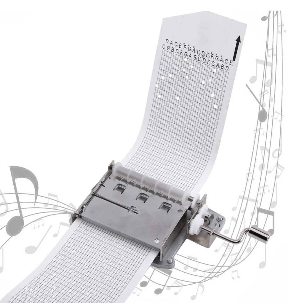 30 Note Tape Hand Crank Music Box Movement Part + Puncher+ 3 Strips DIY Your Songs Perfect Gift Mechanical Musical Box Set
