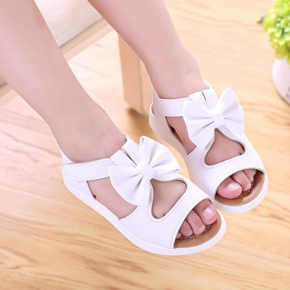 Kids Girls Bowknot Paillette Toe Sandals Summer Party Flat Princess Shoes Size