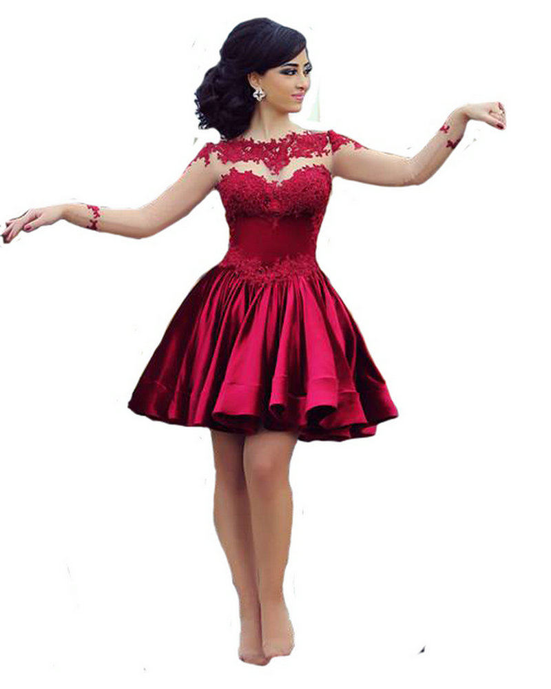 2017 Burgundy Satin Lace Cocktail Dresses Short Prom Dresses Long ...