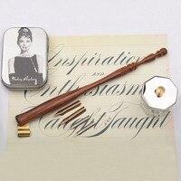 New Handmade Rosewood Oblique Calligraphy Dip Pen Set with 4 Nibs 1 Fount Pen Holder Nib Case Copperplate Script Dip Pen