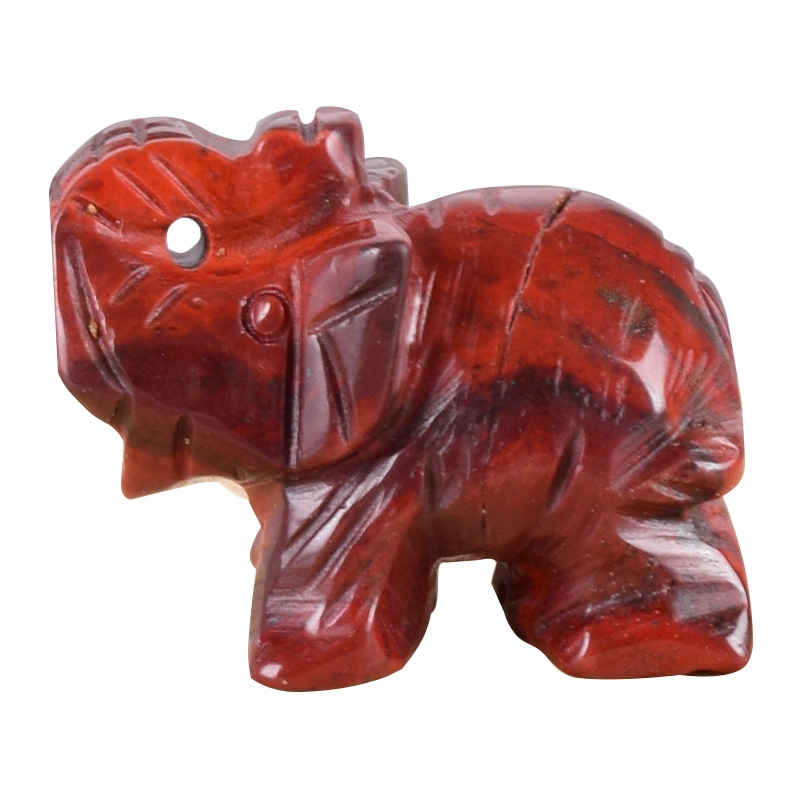 "1.5/"" Elephant Statue Natural Gemstone Red Jasper Carved Animal Figurine Decor"
