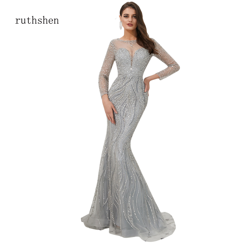 ruthshen Autumn Winter   Evening     Dress   Full Sleeve O-Neck Full Sequin Luxury Sexy Mermaid   Dress   Court Train Gowns vestido de festa