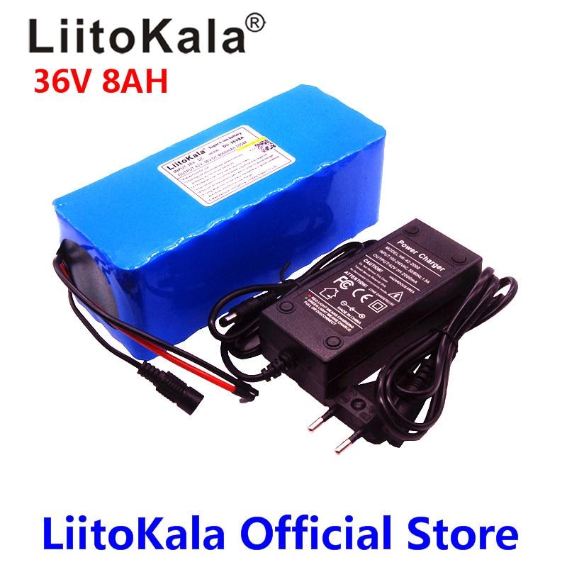 LiitoKala 36 В в 8ah 18650 Вт 500 литиевая батарея 36 В в 8AH Электрический велосипед батарея с ПВХ чехол для В электрического велосипеда 42 в 2A зарядное уст...