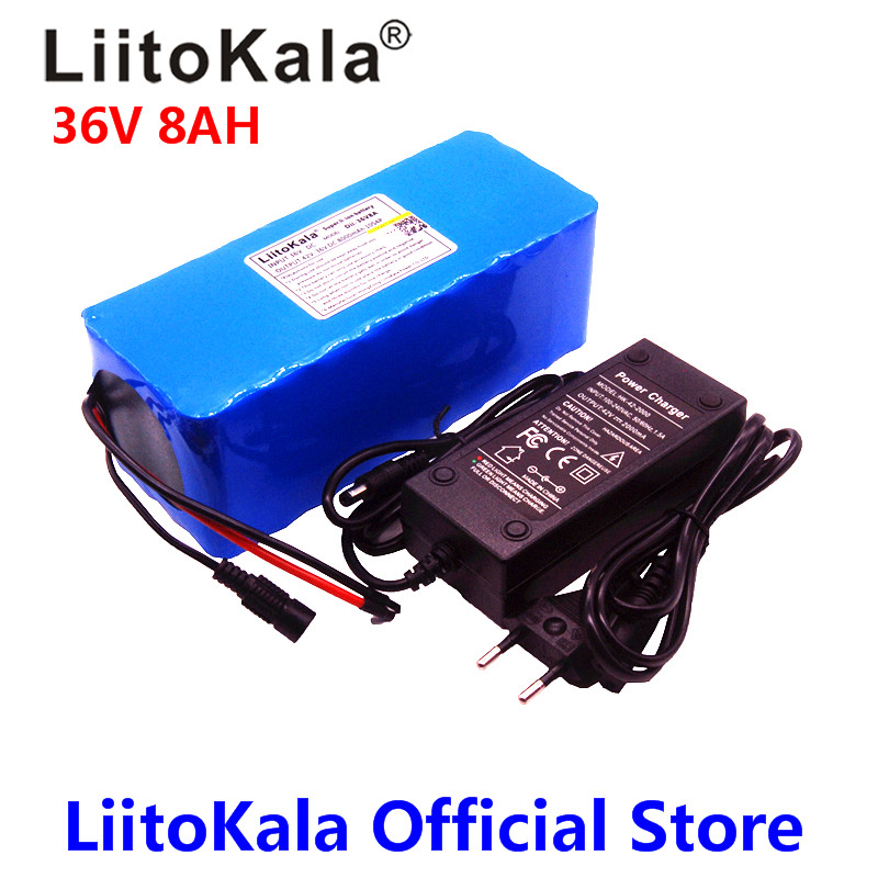 LiitoKala 36V 8ah 500W 18650 lithium battery 36V 8AH Electric bike battery with PVC case for electric bicycle 42V 2A charger 24v e bike battery 8ah 500w with 29 4v 2a charger lithium battery built in 30a bms electric bicycle battery 24v free shipping