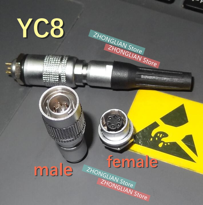 (1female+1male) 1set /lot YC8 Aviation Plug Connector M8 Connector 2/3/4/5/6/7core Aviation Connector YC8 Connector