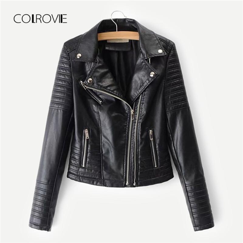 COLROVIE Black Faux Zipper Winter Biker Leather Jacket Coat 2018 Autumn Streetwear Rock Coats Women Casual