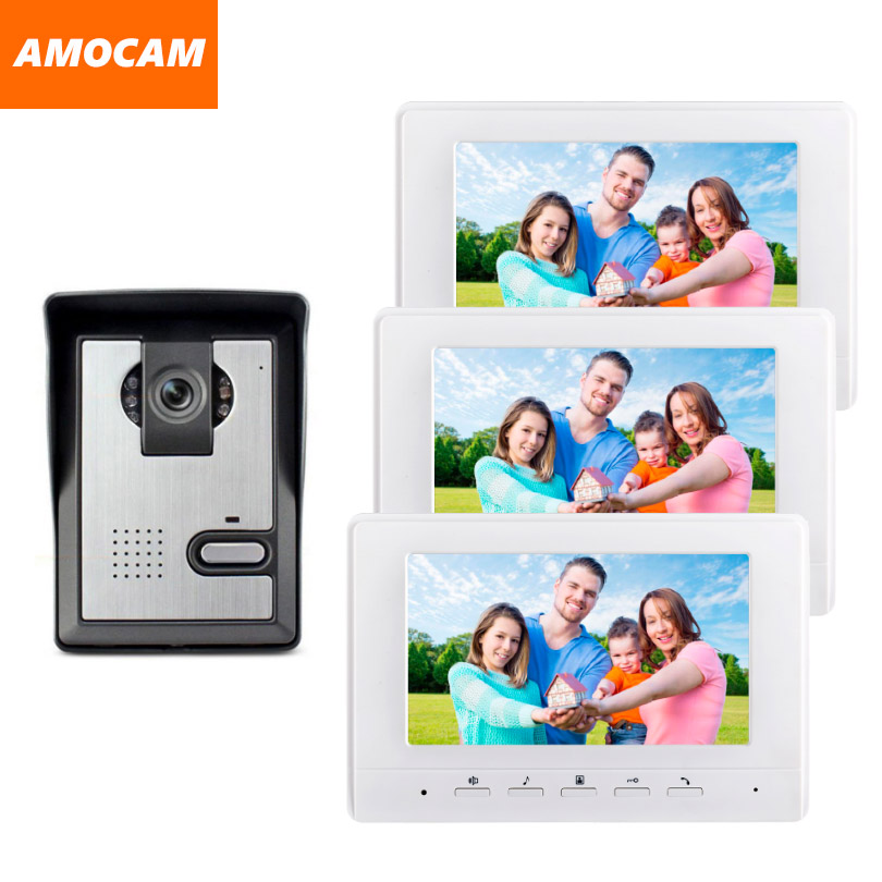 7 Inch Monitor Video Door Phone Intercom Doorbell Camera visual intercom doorbell Video Intercom doorphone Door bell System 1V3