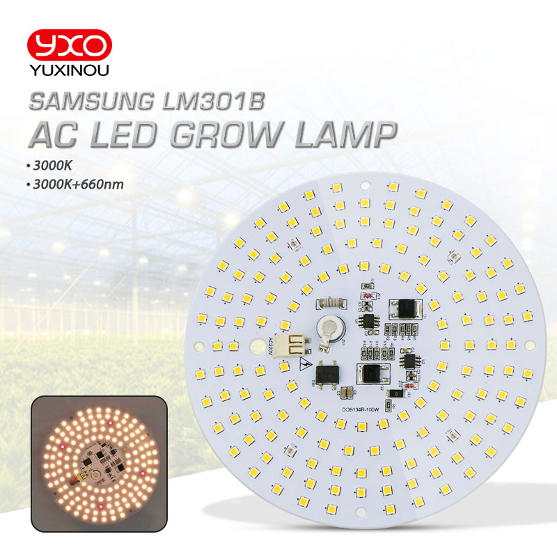 Driverless 100W AC Led Grow Light LED Lamp Full Spectrum Samsung LM301B 3000K 660nm DIY LED Plant Grow Light For Veg/Bloom