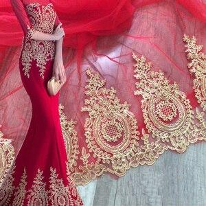 Image 1 - רקום טול רשת תחרה לקצץ זהב מתכתי חוט מלא שמלת תחרה זמירה זהב תחרה גבול פתול תחרה לקצץ 3 מטרים /הרבה