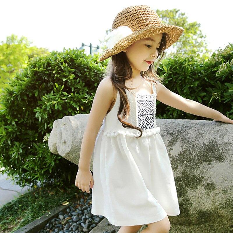 где купить cotton linen baby teenage girl dress summer 8 10 12 14 years white blue sleeveless  kids dresses for girls 2017 new kid Sundress по лучшей цене